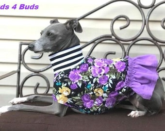 Dog Dress - Italian Greyhound Clothing - Dog Clothing - Italy Greyhound - Lavender Garden - Italian Greyhound Sizes