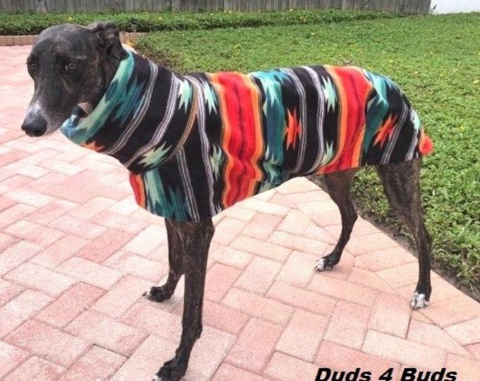 Greyhound Coat - Winter Coat for Greyhound - Fleece Coat for Dog - Aztec Blanket - Dog Jacket -  Greyhound Clothing - Pet Clothing