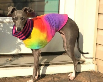 Italian Greyhound Clothing - Fleece Dog Coat - Tie Dye Jammie - Dog Clothing - Pet Clothing - Small Dog Clothes - Dog Jacket - Dog Coat
