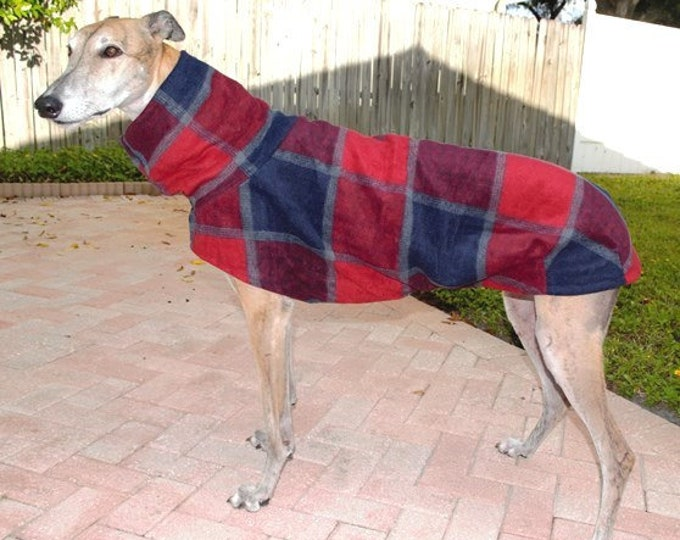 "Greyhound Coat. ""Navy & Red Large Plaid"" - Greyhound Sizes"