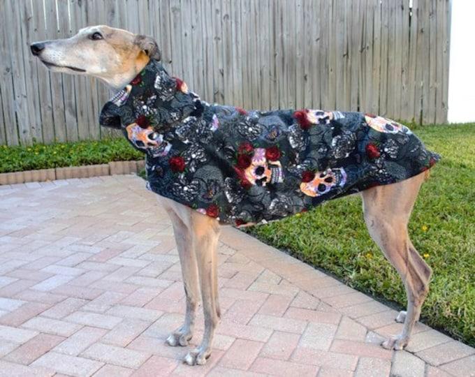 Coat for Greyhound - Greyhound Coat - Skulls & Roses - Dog Jacket - Pet Clothing - Fleece Coat For Greyhound - Halloween for Dog - Greyhound