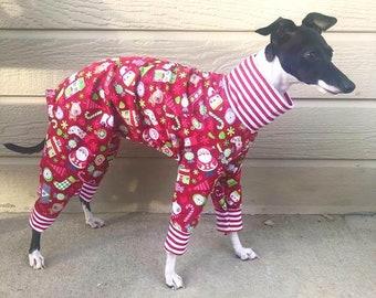 Onesie for Dog - Dog Pajama - Christmas Pajama For Dog - Pet Clothing - Red Santa's Little Helper - Italian Greyhound and Small Dog Sizes