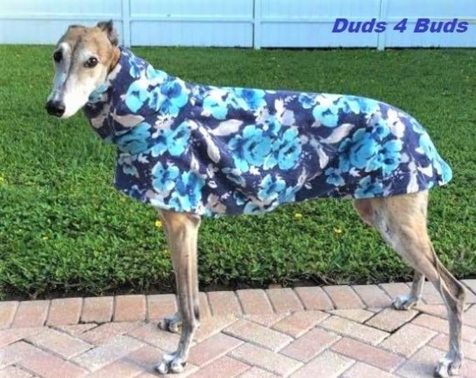 Winter Coat for Greyhound - Fleece Coat for Dog - Blue floral Luxe - Pet Clothing - Dog Jacket - Greyhound Sizes