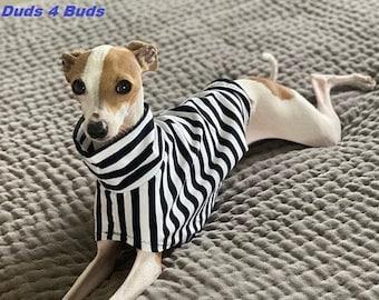 Italian Greyhound Clothing - Dog Halloween - Black and White Stripe - Dog Clothing - Pet Clothing - Small Dog Clothes - Tee Shirt for Dog