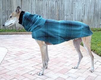 Coat for Greyhound - Greyhound Coat - Heavy Emerald Teal & Black Plaid Cocoon Coat - Fleece Dog Coat - Dog Apparel - Pet Clothing - Dog Coat