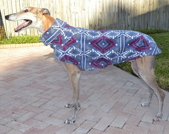 Coat For Greyhound - Heavy-Weight Blue Aztec Cocoon Coat - Fleece Coat For Greyhound - Greyhound Sizes