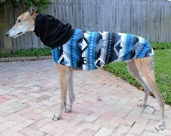 Greyhound Coat - Greyhound Jacket - Aztec Moose Hoodie - Fleece Coat for Dog - Greyhound Sizes