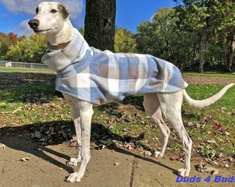 Greyhound Coat - Winter Coat for Greyhound - Fleece Coat for Dog - BlueGray White Plaid - Dog Jacket - Greyhound Clothing - Pet Clothing