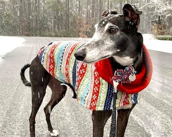 "Greyhound Sweater - ""Ugly Christmas Sweater"" - Greyhound Clothing - Large Dog Sweater - Greyhound Sizes"