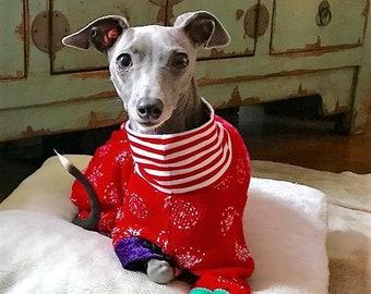 Pajama For Dog - Christmas Pajama For Dog - Ole Time Christmas PJ's - Italian Greyhound and Small Dog Clothing