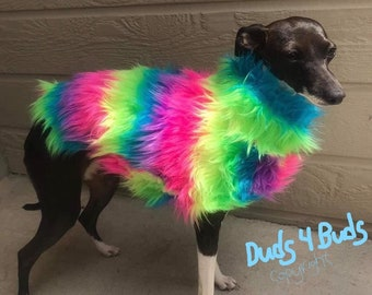 Italian Greyhound Clothing - Dog Clothes - Rainbow Faux Fur Jacket - Fur Caot For Dogs - Iggy Duds - Small Dog Clothes