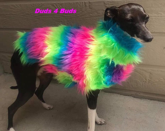 Italian Greyhound Clothing - Dog Clothing - Rainbow - Faux Fur For Dog - Fur Coat For Dogs