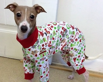 "Dog Pajamas. ""Santa's Little Helper Pajamas"" - Italian Greyhound and small dog sizes"
