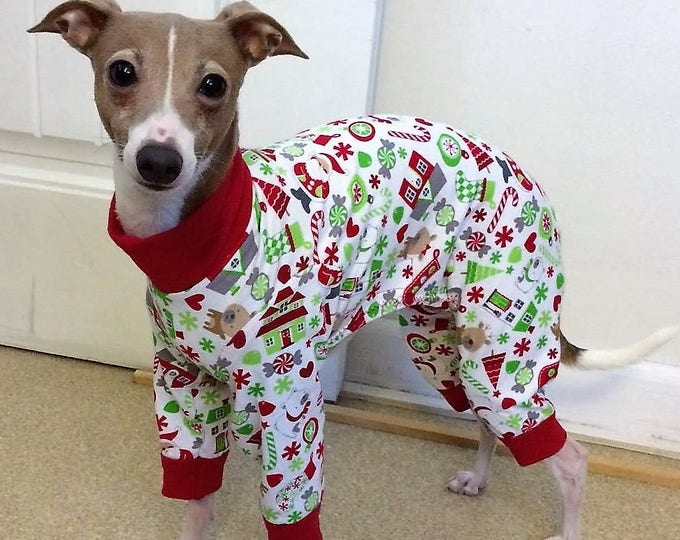 """Pajamas for dogs. """"Santa's Little Helper PJ's"""" - Italian Greyhound and small dog sizes"""