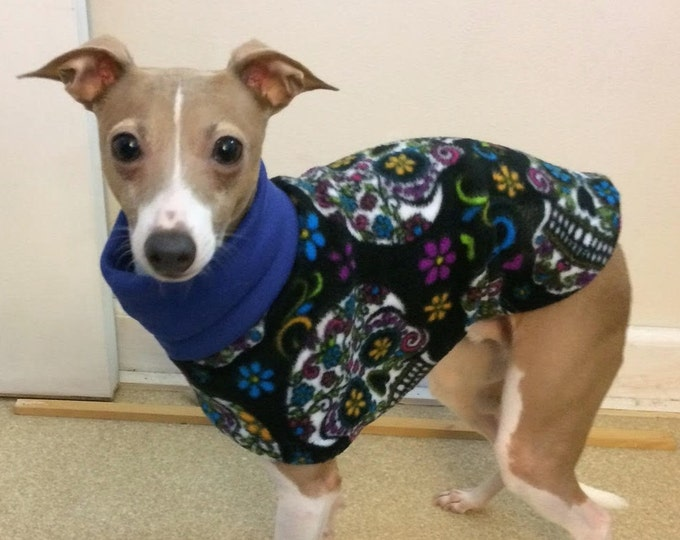 "Italian Greyhound Clothing. ""Candy Skulls Jammie / Daycoat"" - Italian Greyhound Sizes"