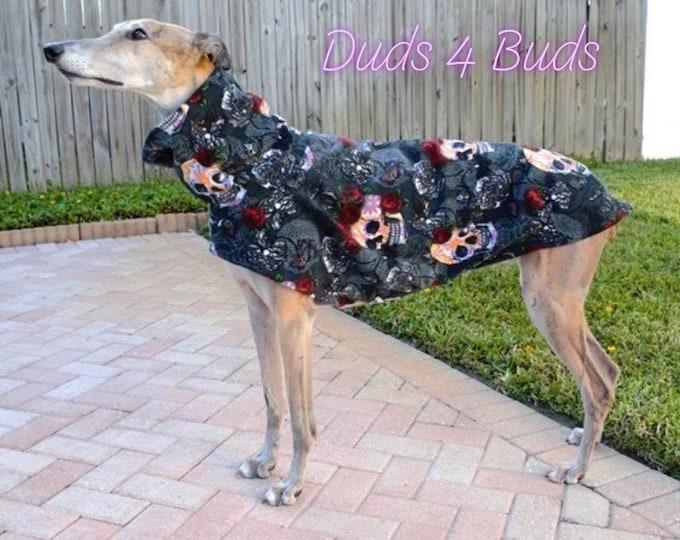 Greyhound Coat - Greyhound Fleece Jacket - Skulls & Roses - Halloween for Dog - Greyhound