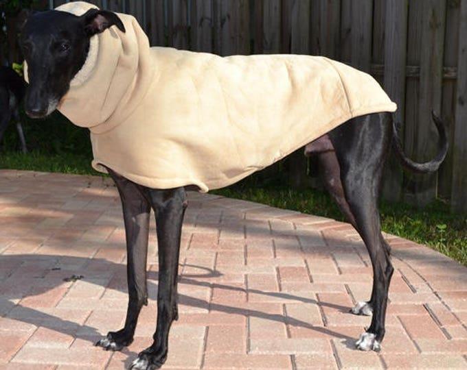 "Greyhound Coat. ""Faux Suede Sherpa Cocoon Coat"" - Greyhound Sizes"