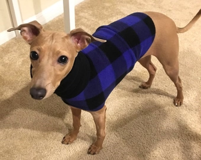 Italian Greyhound Clothing - Coat for Italian Greyhound - Blue Buffalo Plaid - Dog Clothing - Pet Clothing - Small Dog Clothes