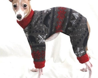 Pajama For Dog - Red Bear Sweater Jumper - Italian Greyhound and Small Dog Clohting