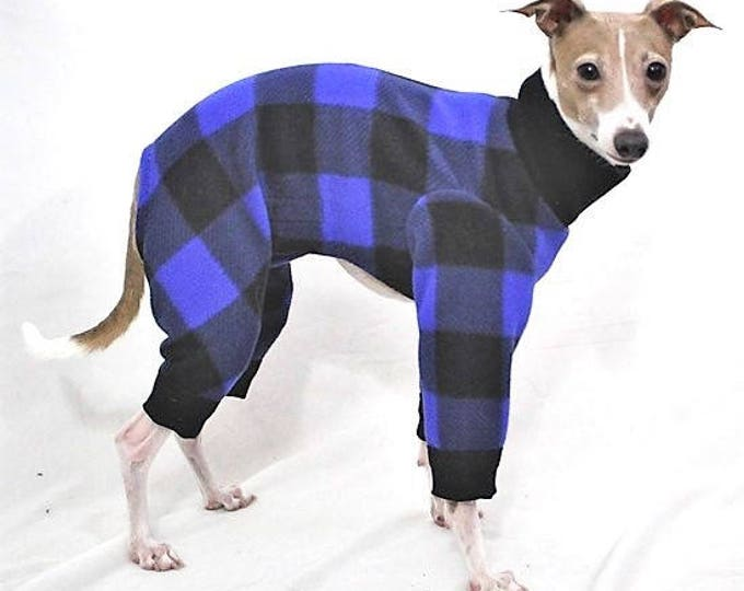 Italian Greyhound Clothing - Dog Pajama - Onesie for Dog - Blue Buffalo Plaid