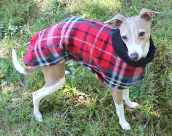 Italian Greyhound Coat - Italian Greyhound Clothing - London Plaid Long Coat - Italian Greyhound sizes