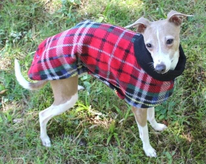 """Italian Greyhound Coat. """"London Plaid Long Coat"""" - Italian Greyhound sizes"""