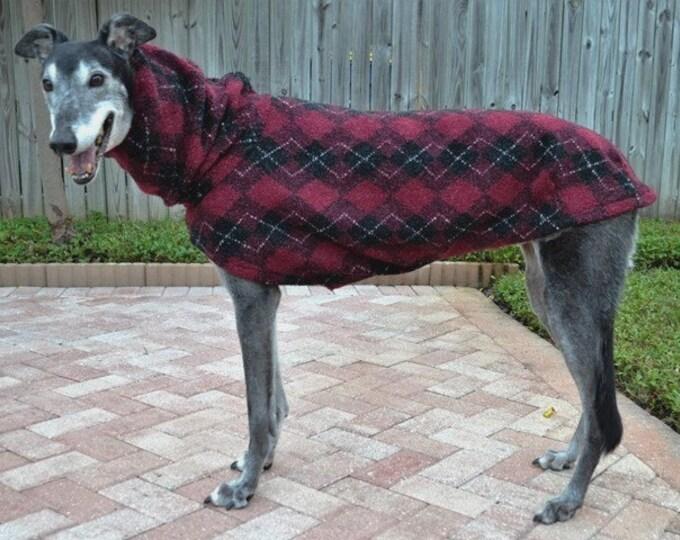 Greyhound Coat. Burgundy & Black Argyle Cocoon Coat.  Coat for greyhound. Dog clothes. Pet Hoodies. Dog Jacket. Dog Apparel. Dog clothing