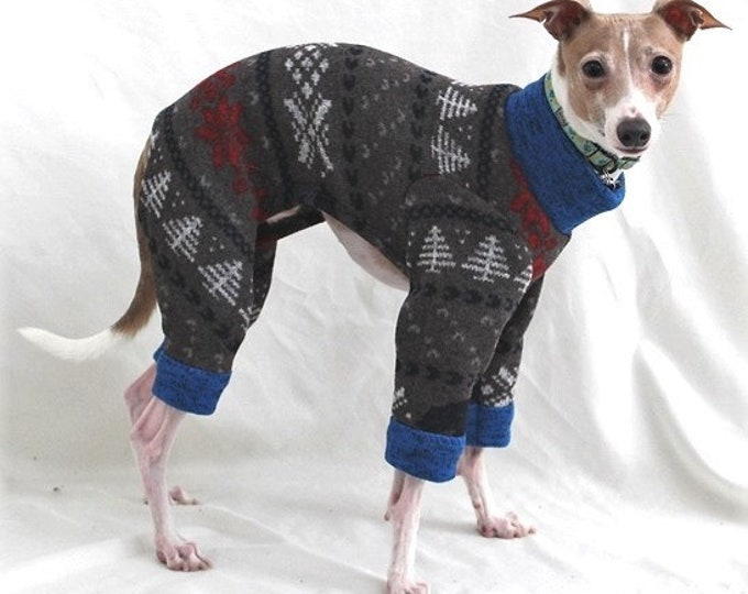 Dog Pajamas - The Blue Bear Sweater Jumper - Pajama For Dog - Italian Greyhound and Small Dog Sizes
