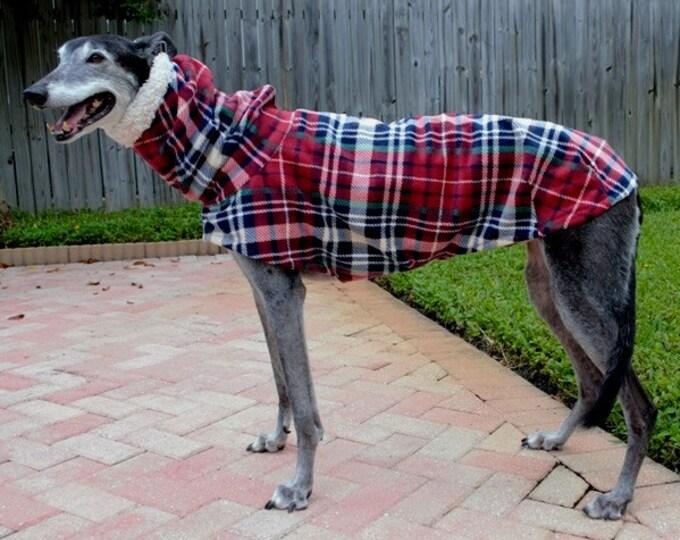 "Greyhound Coat. ""Heavy Red & Navy Plaid Cocoon Coat"" - Greyhound Sizes"