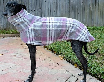 Greyhound Coat - Winter Coat for Greyhound - Fleece Coat for Dog - Pink & Gray Plaid - Dog Jacket - Greyhound Clothing - Pet Clothing