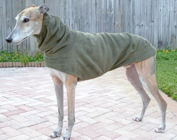 Greyhound Coat - Winter Coat for Greyhound - Heavy Coat For Dog - Heavy Olive Hoodie - Dog Apparel - Dog Coat - Greyhound Clothing