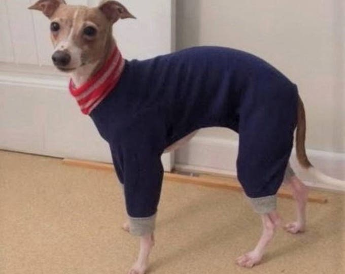 "Dog Pajamas. ""Navy Blue Fleece Pajama"" - Italian Greyhound and small dog sizes."