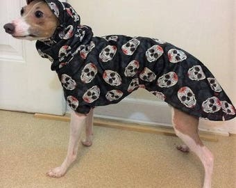 Raincoat for dog. Dog Raincoat. Italian Greyhound Clothes. Candy Skulls. Dog coat. Coat for Italian Greyhound. Dog Clothes. Dog apparel.