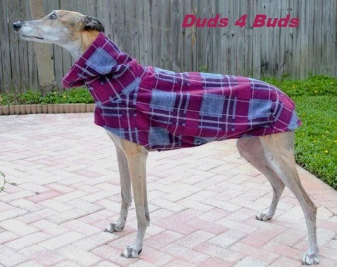Greyhound Coat - Heavy-Weight Wine & Blue Plaid Cocoon Coat - Winter coat for Greyhound - Greyhound Sizes