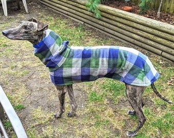 Greyhound Coat - Winter Coat for Greyhound - Coat For Dog - Fleece Dog Coat - Blue and Olive Cocoon - Dog Apparel - Dog Coat - Dog Clothes