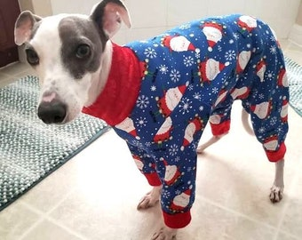 Christmas for Dog - Italian Greyhound Clothing - Onesie for Dog - Dog Pajamas - Pet Clothing - Blue Santa - Iggy Duds - Christmas Pajamas