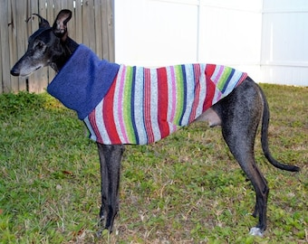 Greyhound Sweater - Multi-Stripe Sweater - Greyhound Clothing - Jacket for Greyhound - Greyhound Sizes