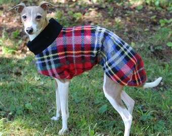 Italian Greyhound Coat - Italian Greyhound Clothing - London Plaid Long Coat - Italian Greyhound sizes