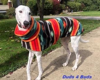 Winter Coat for Greyhound - Fleece Coat for Dog - Aztec Blanket - Dog Jacket -  Greyhound Sizes