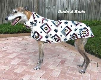 Greyhound Coat - Winter Coat for Greyhound - Fleece Coat for Dog - Cream Aztec  - Dog Jacket -  Greyhound Clothing - Pet Clothing