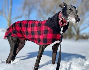 Greyhound Coat - Lumberjack - Greyhound Hoodie - Coat for Greyhound - Fleece Dog Coat - Greyhound Clothing - Pet Clothing - Coat for Dog