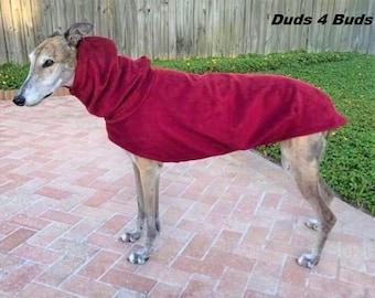 Greyhound Coat - Winter Coat For Greyhound - Rhubarb Red Hoodie -  Greyhound Sizes
