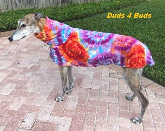 Greyhound Coat - Fleece Coat For Greyhound - Jacket for Greyhound - Classic Tie Dye Fleece Jacket - Greyhound Sizes