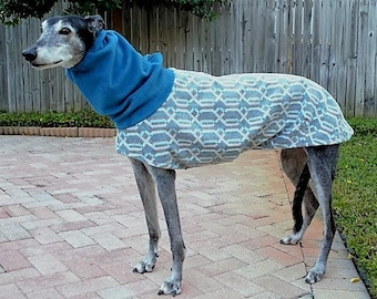 "Greyhound Coat. ""Heavy-Weight Teal Lattice Cocoon Coat"" - Greyhound Sizes"