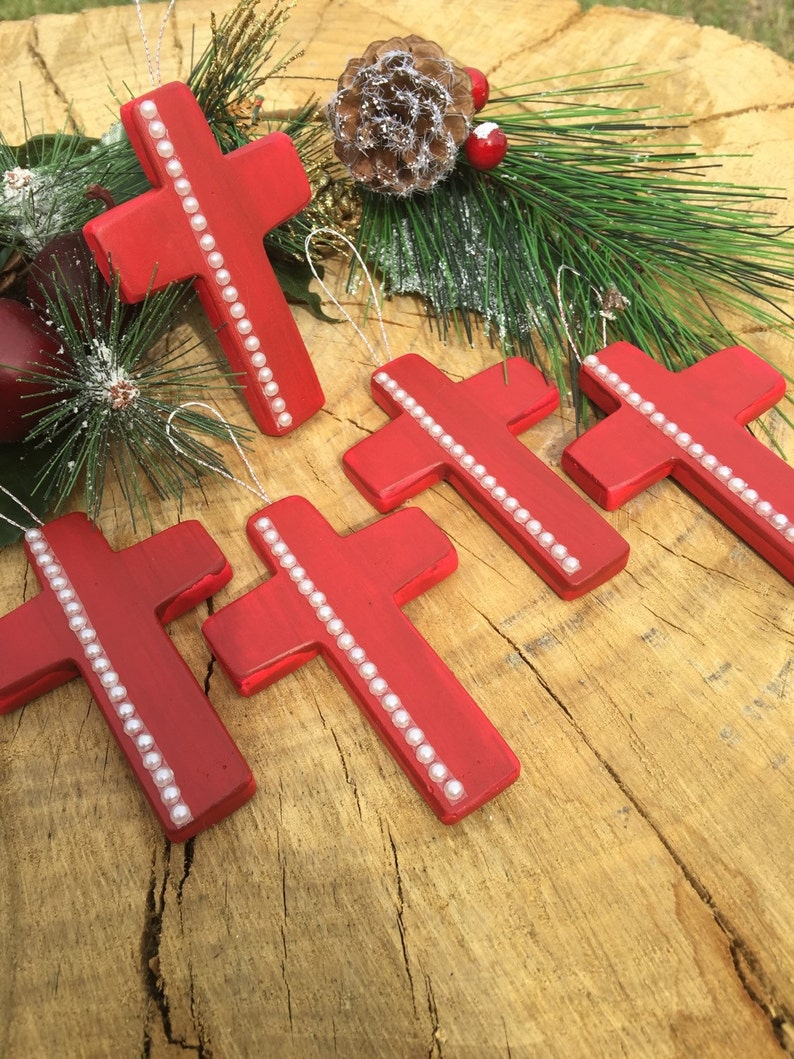 Reduced Rustic Christmas Tree Ornaments Set Of 5 Mini Crosses Red With White Faux Pearls Accent Religious Holiday Decor