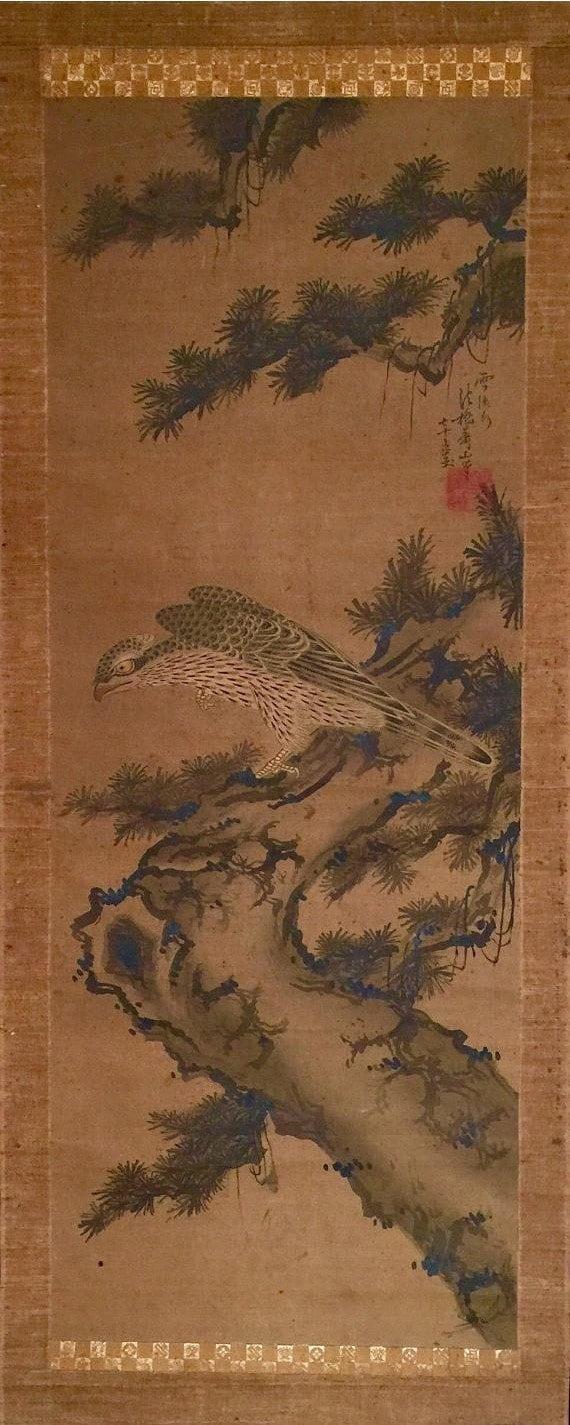 e13a1798ff28 Rouleau de peinture sur soie ancienne à lencre japonaise fin   Etsy