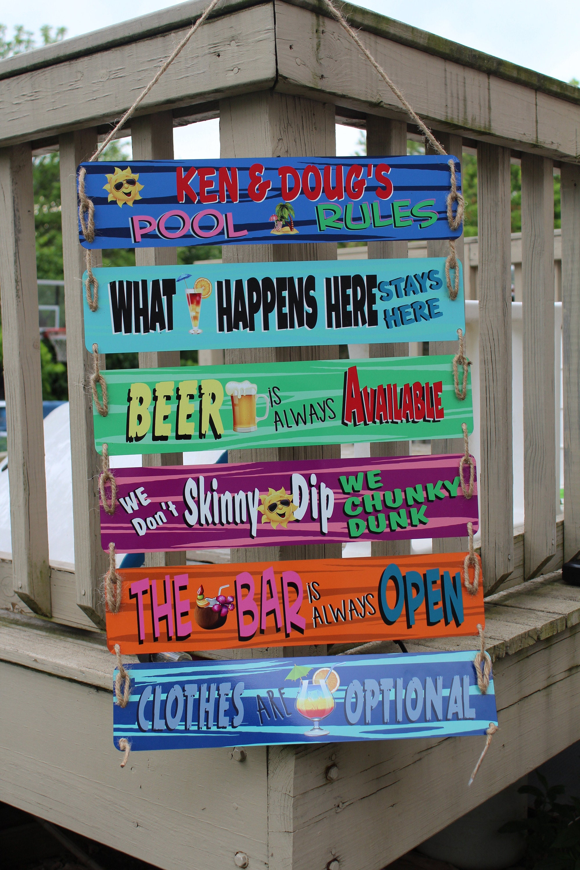6 Panel Funny Pool Signs, Custom Swimming Pool Rules Aluminum Sign, Luau  party, pool party gift, High Quality UV coated, google this.