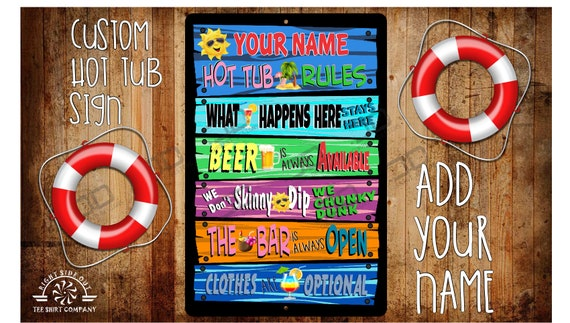 personalized outdoor decor Hot Tub Rules Sign Home Decor Outdoor sign gift for him hot tub sign hot tub sign custom funny sign