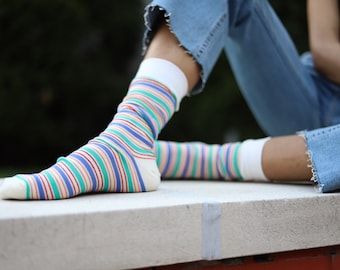 266aa1c47 2 PACK - Colorful Long Striped Mens   Unisex Dress Casual Socks