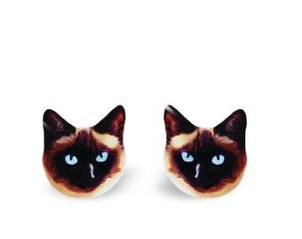 Cat Earrings - Siamese Cat - Cat Jewelry - Pet Earrings - Cat Studs - Animal Earrings - Stainless Steel Posts